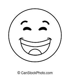 ridere, icona, emoticon
