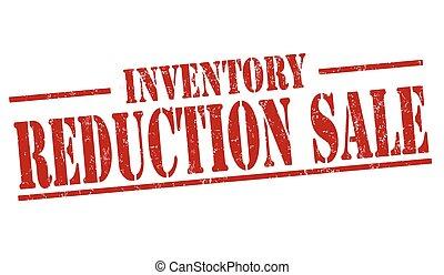 riduzione, vendita, o, segno, francobollo, inventario