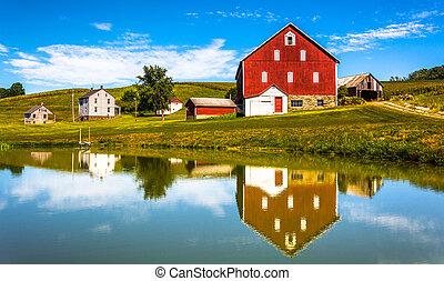 riflessione, casa, pennsylvania., york, contea, piccolo, rurale, stagno, granaio