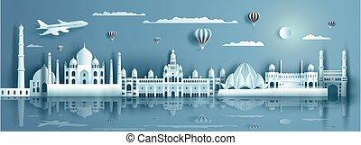 riflessione., moderno, viaggiare, antico, costruzione, india, acqua
