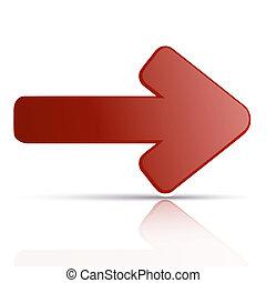 riflessione, vettore, ares, fondo, bianco rosso