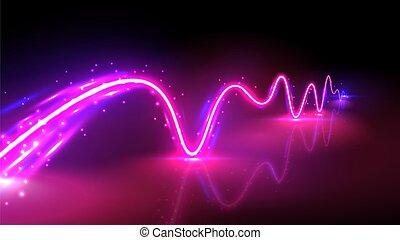 riflessioni, realistico, illustrazione, onda, vettore, rosa, blu, neon