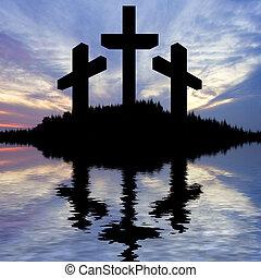 riflesso, buono, silhouette, cristo, venerdì, croce, gesù, acqua, crocifissione, pasqua, lago