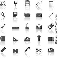 riflettere, bianco, stazionario, fondo, icone