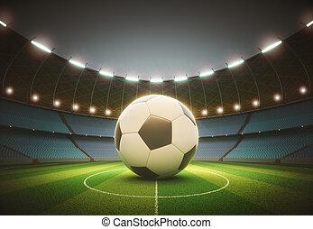 riflettore, palla, stadio, calcio, percorso, ritaglio