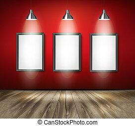 riflettori, legno, floor., vector., rosso, stanza