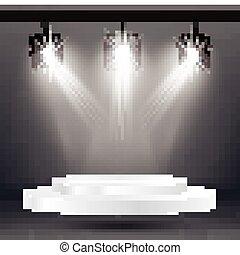 riflettori, platform., effetti, illuminazione, bianco, palcoscenico
