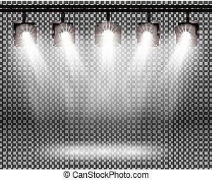 riflettori, scena, fondo., effetti, illuminazione, trasparente