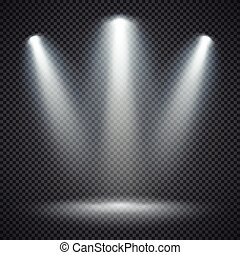 riflettori, scena, luminoso, vettore, illuminazione, illuminazione