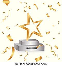 riflettori, vincitore, competition., fondo., podio, posto, coriandoli, primo