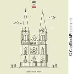 riga, latvia., santo, chiesa, punto di riferimento, francesco, icona