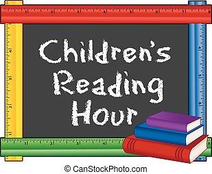 righello, childrens, cornice, ora, lettura
