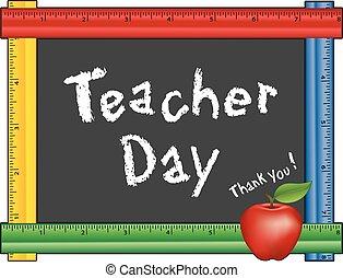 righello, giorno, lavagna, mela, insegnante