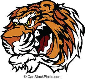 ringhiando, tiger, cartone animato, mascotte