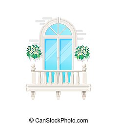 ringhiera, facciata, casa finestra, vendemmia, balcone