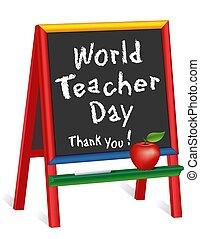 ringraziare, 5, mela, insegnante, giorno, you!, childrens, mondo, lavagna, insegnante, ottobre, cavalletto
