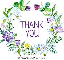 ringraziare, bouquet., illustrazione, acquarello, vettore, floreale, lei, scheda