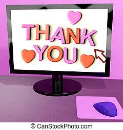 ringraziare, schermo, messaggio, apprezzamento, computer, linea, lei, esposizione