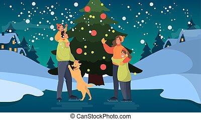 rink., attività esterna, felice, ghiaccio, famiglia, pattinaggio, inverno