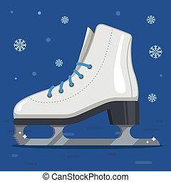 rink., pattini, winter., bianco, esterno, pattinare ghiaccio, figura