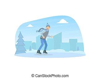 rink, sport, ragazzo, riscaldare, vettore, illustrazione, vestito, attività, abbigliamento, pattinaggio, esterno, inverno