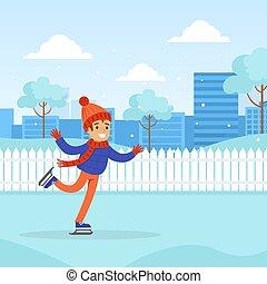 rink, vestito, stile, vettore, illustrazione, inverno, abbigliamento aperto, cartone animato, ragazzo, riscaldare, attività, sport, pattinaggio, carino