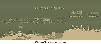 rinnovabile, tutto, generi, energia, illustrazione