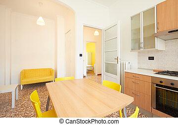 rinnovato, appartamento, affitto, interno, bianco, cucina, spazioso