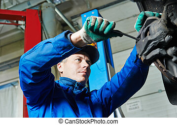 riparare, auto, sospensione, meccanico, automobile