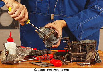riparare, motore, automobilistico, parti, officina, meccanico
