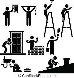 riparare, quotazione, simbolo, uomo tuttofare