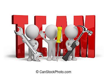 riparatori, persona, 3d, squadra
