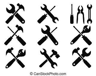 riparazione, attrezzo, set, icone