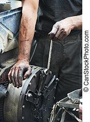 riparazione, auto, automobile, lavoro, meccanico, mani