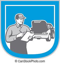 riparazione, auto, automobile, retro, meccanico, automobile, assegno