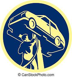 riparazione, auto, automobile, retro, meccanico, automobile