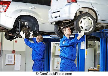 riparazione, automobile, lavoro, meccanico, auto, sospensione