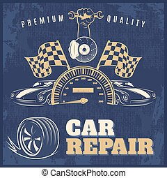 riparazione automobile, retro, manifesto