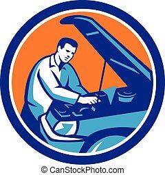riparazione, automobile, retro, meccanico, auto, cerchio
