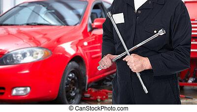 riparazione automobile, servizio, worker.