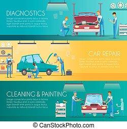 riparazione, centro, automobile, retro, bandiere, cartone animato