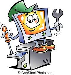 riparazione, computer, mascotte