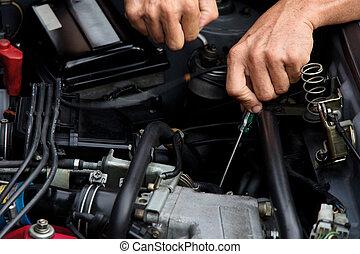 riparazione, concetto, auto