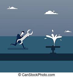 riparazione, concetto, rubinetto, affari, puzzle, soluzione, strategia, strappare, presa a terra, fluente, uomo