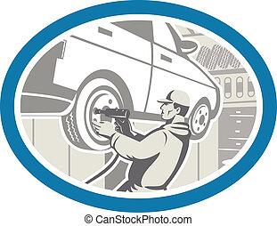 riparazione, pneumatico, automobile, retro, meccanico, mutevole