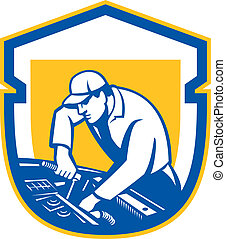 riparazione, scudo, automobile, retro, meccanico, auto, automobile