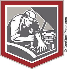 riparazione, scudo, automobile, retro, meccanico, automobile