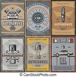 riparazione, servizio, automobile, vettore, retro, manifesti