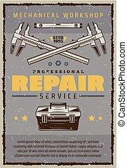 riparazione, servizio, manifesto, meccanico, automobile, toolbox