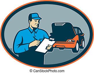 riparazione, set, automobile, dentro, appunti, meccanico, automobile, oval.